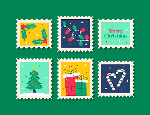 Płaska konstrukcja kolekcji znaczków świątecznych