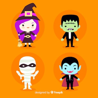 Płaska konstrukcja kolekcji znaków halloween