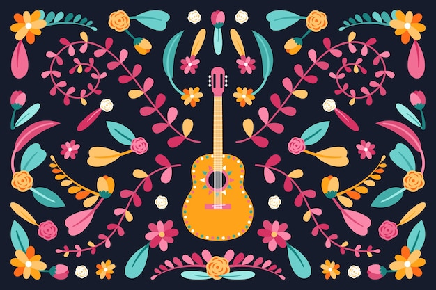 Płaska konstrukcja kolorowe meksykańskie tapety w stylu