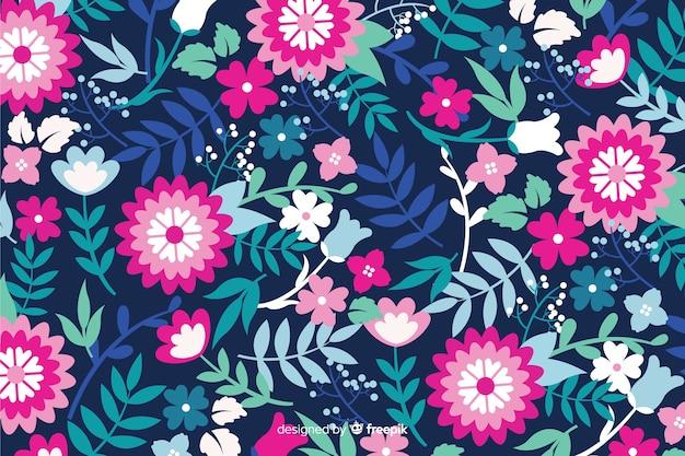 Płaska konstrukcja kolorowe tło kwiatowy