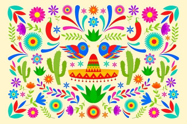 Płaska konstrukcja kolorowe tło meksykańskie styl