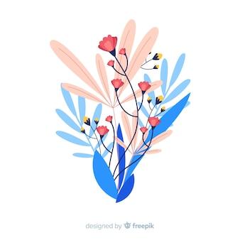 Płaska konstrukcja kolorowy kwiatowy oddział