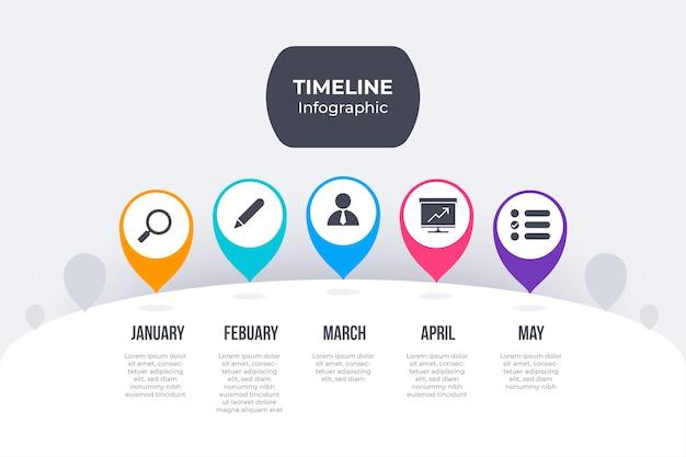 Płaska konstrukcja kolorowy plansza osi czasu