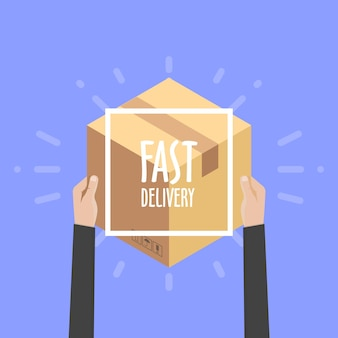 Płaska konstrukcja kolorowy wektor ilustracja koncepcja dostawy, e-commerce, zakupy online, odbieranie paczki od kuriera do klienta.
