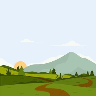 Płaska konstrukcja kolorowy wiosenny krajobraz