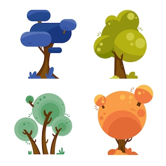 Płaska konstrukcja kolorowy zestaw drzew