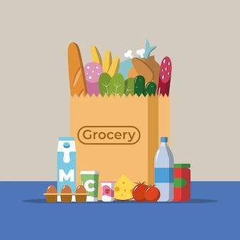 Płaska konstrukcja kolorowych ilustracji wektorowych produktów spożywczych i napojów spada do papierowej torby, koncepcja sprzedaży detalicznej.