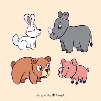 Płaska konstrukcja kolorowych zwierząt ilustrowana paczka