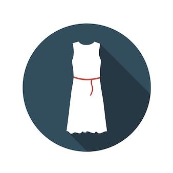 Płaska konstrukcja koncepcja białej sukni ilustracji wektorowych z długim cieniem. eps10