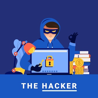 Płaska konstrukcja koncepcja cyber-złodziej działalności hakera na urządzeniu internetowym