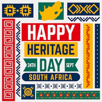 Płaska konstrukcja koncepcja dnia dziedzictwa afryki południowej