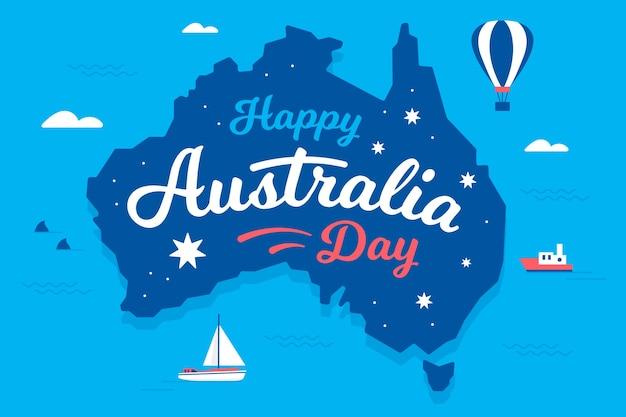 Płaska konstrukcja koncepcja dzień australii