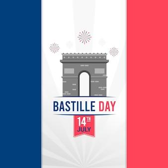 Płaska konstrukcja koncepcja dzień bastylii