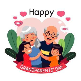 Płaska konstrukcja koncepcja dzień dziadków narodowych