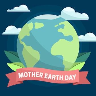 Płaska konstrukcja koncepcja dzień matki międzynarodowy dzień ziemi