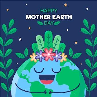 Płaska konstrukcja koncepcja dzień matki ziemi