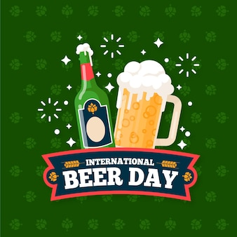 Płaska konstrukcja koncepcja dzień międzynarodowego piwa