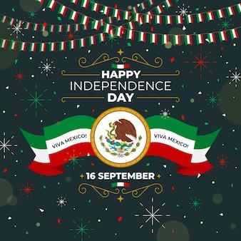Płaska konstrukcja koncepcja dzień niepodległości meksyku