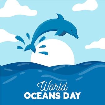 Płaska konstrukcja koncepcja dzień oceanów świata