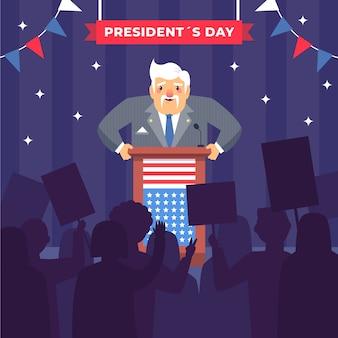 Płaska konstrukcja koncepcja dzień prezydenta