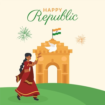 Płaska konstrukcja koncepcja dzień republiki indii
