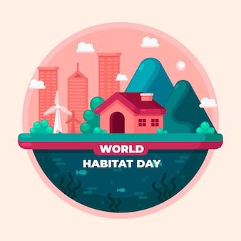 Płaska konstrukcja koncepcja dzień siedliska świata