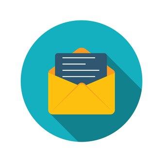 Płaska konstrukcja koncepcja e-mail wyślij ikonę ilustracji wektorowych z długim cieniem. eps10