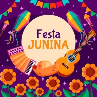Płaska konstrukcja koncepcja festa junina