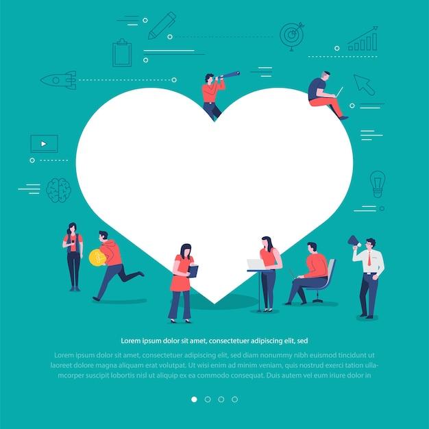 Płaska konstrukcja koncepcja grupa narodów współpracuje budując przycisk miłości symbol sieci społecznej