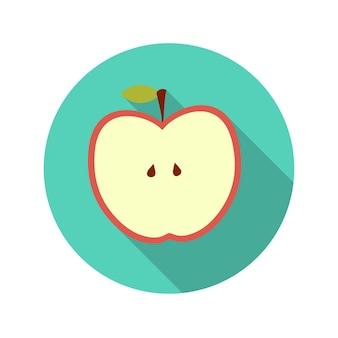 Płaska konstrukcja koncepcja ilustracja wektorowa jabłko z długim cieniem. eps10
