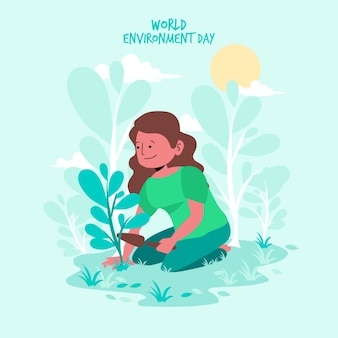 Płaska konstrukcja koncepcja imprezy światowy dzień środowiska