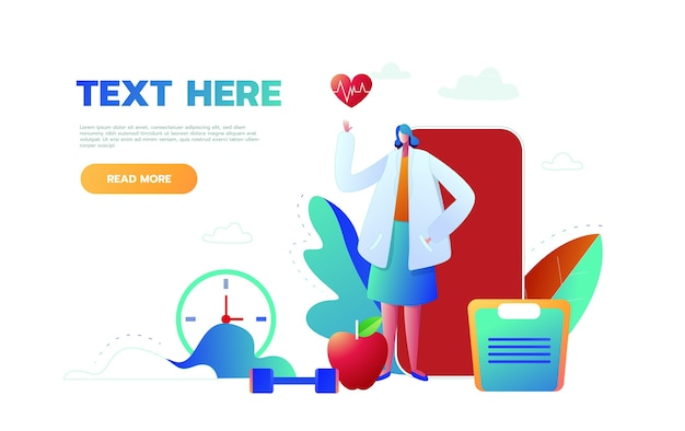 Płaska konstrukcja koncepcja internetowa i aplikacja na telefon komórkowy, koncepcja medyczna, infografika, płaski styl z lekarzem, wektor