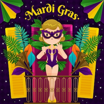 Płaska konstrukcja koncepcja mardi gras