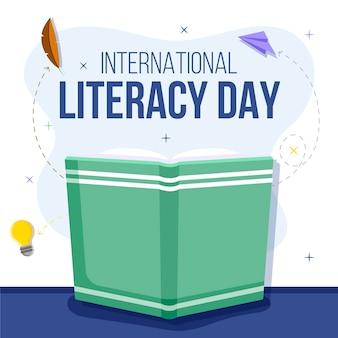 Płaska konstrukcja koncepcja międzynarodowego dnia alfabetyzacji