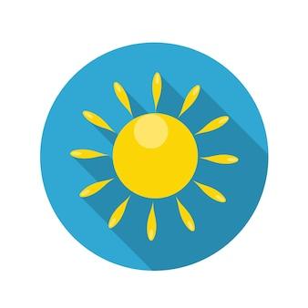 Płaska konstrukcja koncepcja słońce ikona ilustracja wektorowa z długim cieniem. eps10