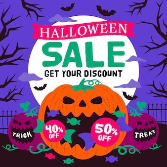 Płaska konstrukcja koncepcja sprzedaży halloween