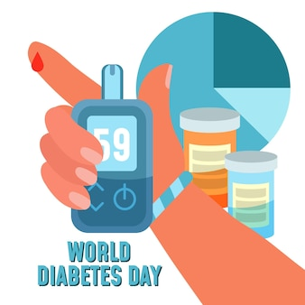 Płaska konstrukcja koncepcja światowego dnia cukrzycy