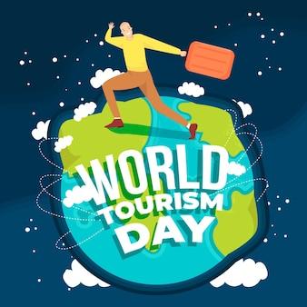 Płaska konstrukcja koncepcja światowego dnia turystyki