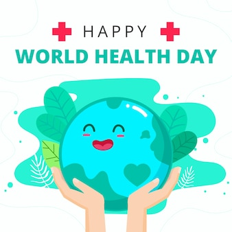 Płaska konstrukcja koncepcja światowego dnia zdrowia