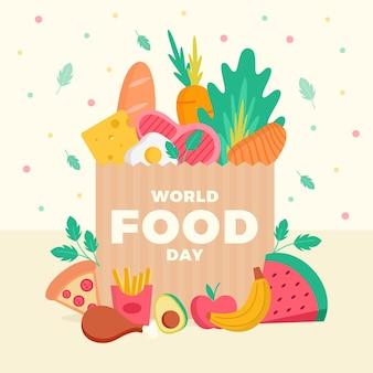 Płaska konstrukcja koncepcja światowego dnia żywności