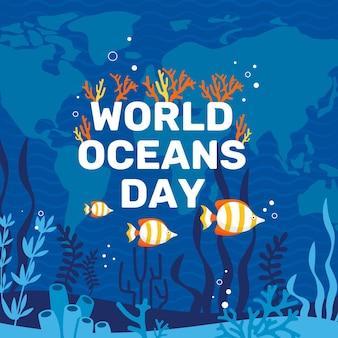 Płaska konstrukcja koncepcja światowy dzień oceanów