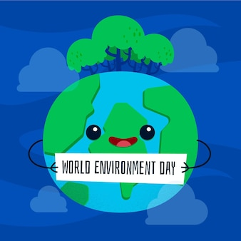 Płaska konstrukcja koncepcja światowy dzień środowiska
