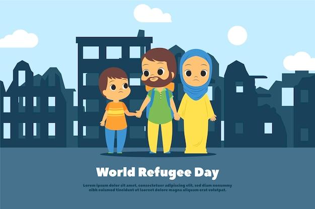 Płaska konstrukcja koncepcja światowy dzień uchodźcy