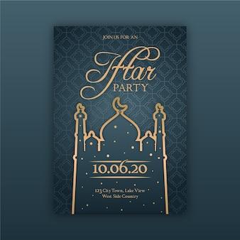 Płaska konstrukcja koncepcja szablon zaproszenia iftar