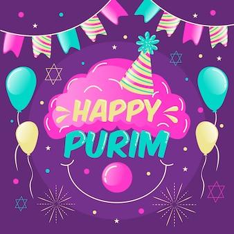 Płaska konstrukcja koncepcja szczęśliwy dzień purim