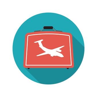 Płaska konstrukcja koncepcja walizka wektor ilustracja z długim cieniem. eps10