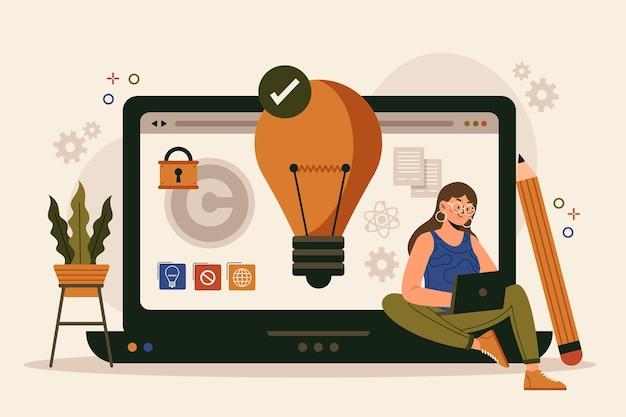 Płaska konstrukcja koncepcja własności intelektualnej z kobietą i laptopem