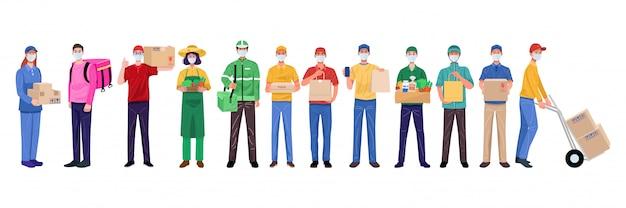 Płaska konstrukcja koncepcja, zestaw człowiek dostawy noszenia masek na twarz w różnych postaciach.