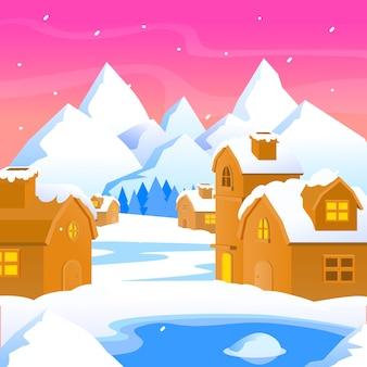 Płaska konstrukcja koncepcja zimowego krajobrazu