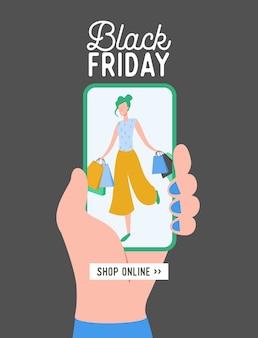 Płaska konstrukcja koncepcji black friday, szablon aplikacji mobilnej sprzedaży koncepcji z postacią kobiety, baner zakupów online, plakat oferty specjalnej
